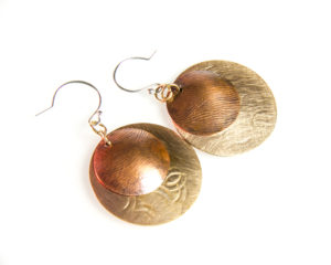 Bronze and copper disc earrings