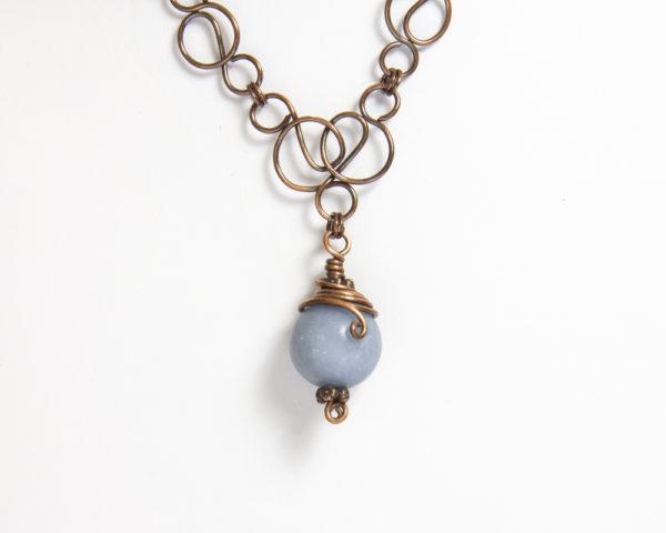 Angelitt kobber halssmykke , blått halssmykke , genuin smykkesten , håndlaget halssmykke Norge , halskjede Norge